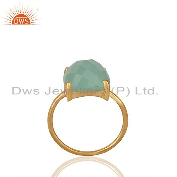 Aqua Chalcedony Gemstone 925 Solid Silver Stackable Rings Wholesale