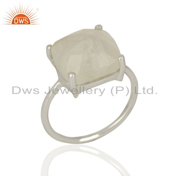Rainbow Moonstone Sterling Fine Silver Ring Handamde Jewelry Supplier