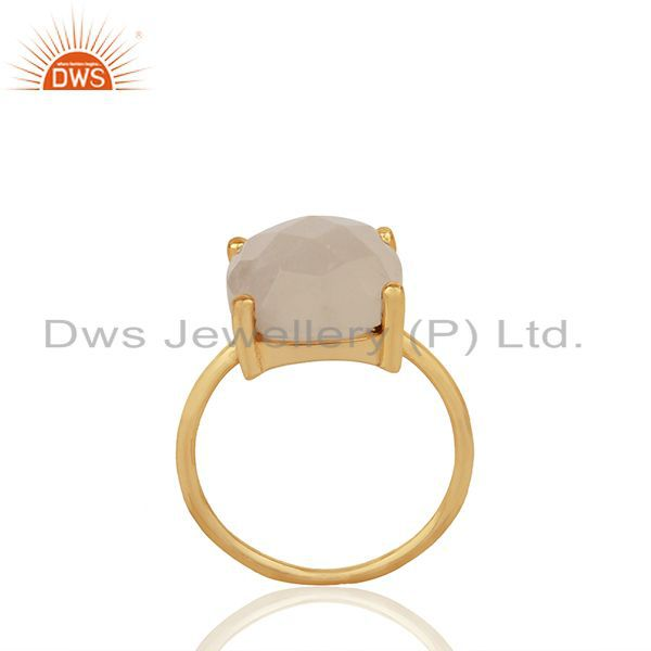 Prong Set Rainbow Moonstone Gold Plated 925 Silver Girls Rings Jewelry