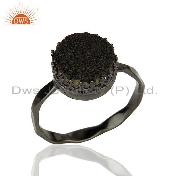 Black Rhodium Plated 925 Silver Black Druzy Gemstone Ring Wholesaler