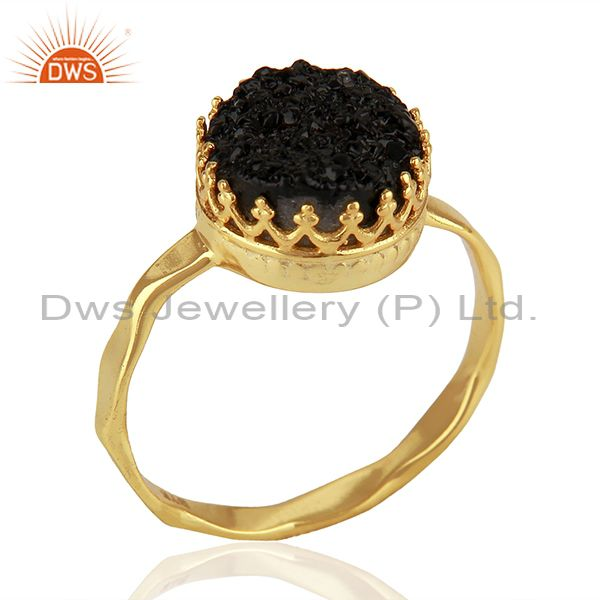 Black Druzy Gemstone Gold Plated 925 Silver Ring Manufacturer Jaipur