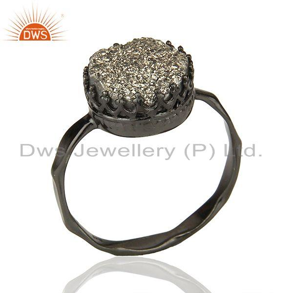 Black Druzy Black Rhodium Plated 925 Silver Gemstone Ring Manufacturer