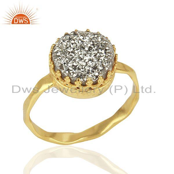 Silver Druzy Gemstone Gold Plated 925 Silver Designer Ring Suppliers