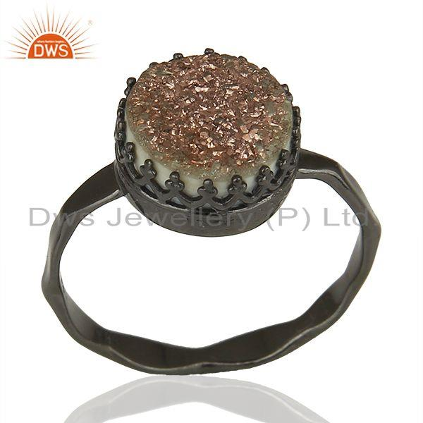 Black Rhodium Plated 925 Silver Copper Druzy Gemstone Ring Supplier