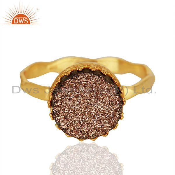 Copper Druzy Gemstone Gold Plated Sterling Silver Ring Manufacturer