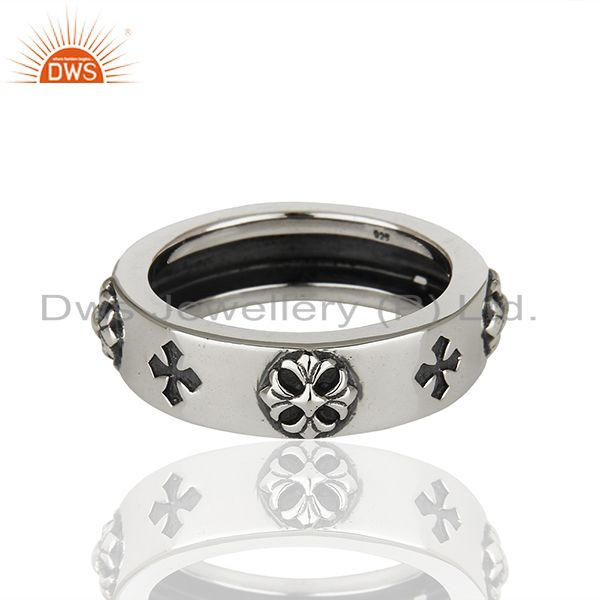 Solid 925 Sterling Silver Lucky Charm Mens Band Ring Manufacturer