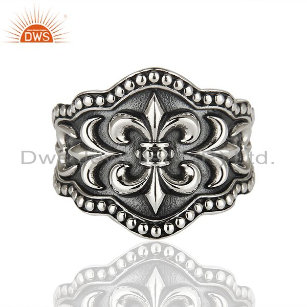 La Fleur De Lis French Royalty Sign 925 Silver Mens Ring Manufacturer