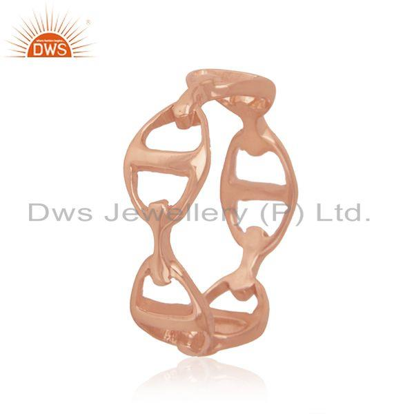 Rose Gold Plated Solid 925 Sterling Silver Designer Band Ring Manufacturer India