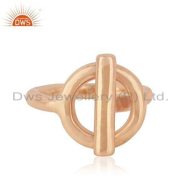 Rose Gold Plated 925 Sterling Silver Designer Plain Ring Indian Manufacturer