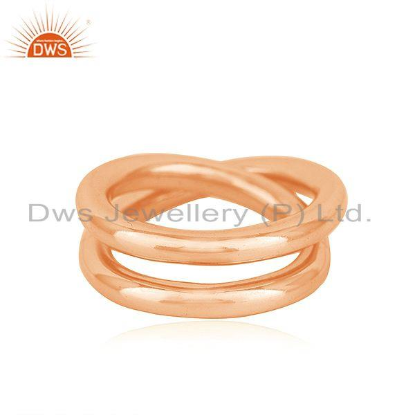 14k Rose GOld Plated 925 Sterling Silver Simple Promise Unisex Ring Manufacturer
