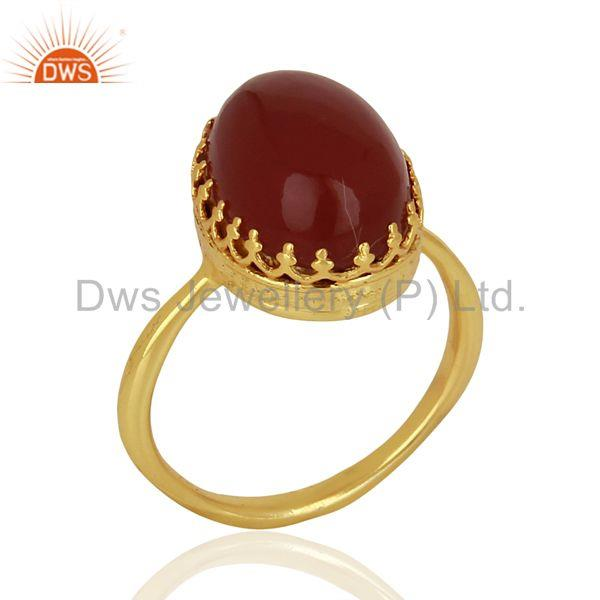 Crown Design Gold Plated Silver Ring Carnelian Gemstone Wedding Ring