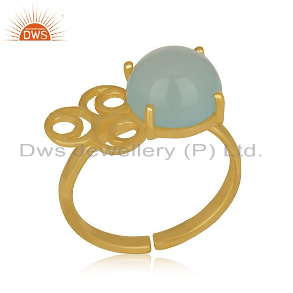 Aqua chalcedony gemstone gold plated solid silver rings jewelry