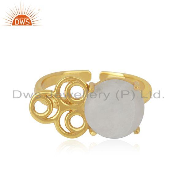 Rainbow moonstone 925 silver gold plated designer ring manufacturer india