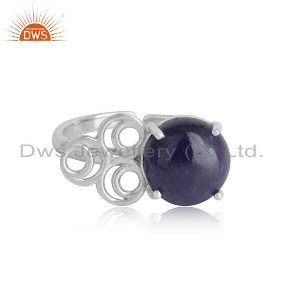 White rhodium plated silver handmade tanzanite gemstone rings