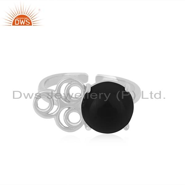 Natural black onyx gemstone designer fine sterling silver ring manufacturer