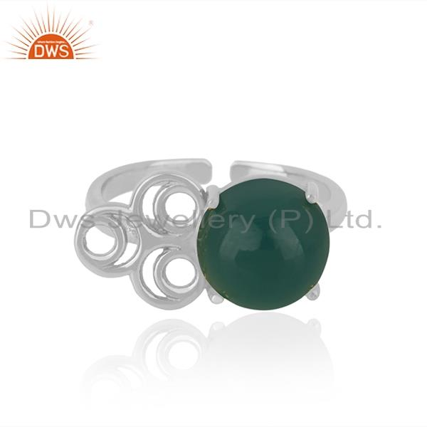 Designer fine sterling silver green onyx gemstone ring wholesale