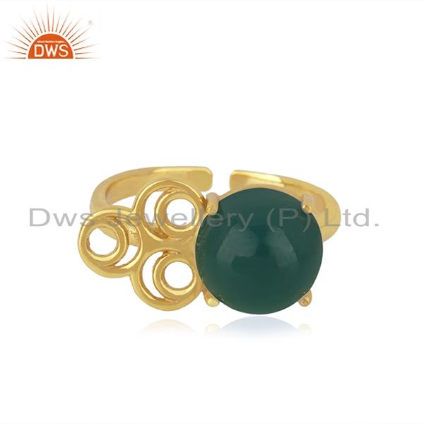 18k gold plated sterling silver green onyx gemstone promise ring manufacturer