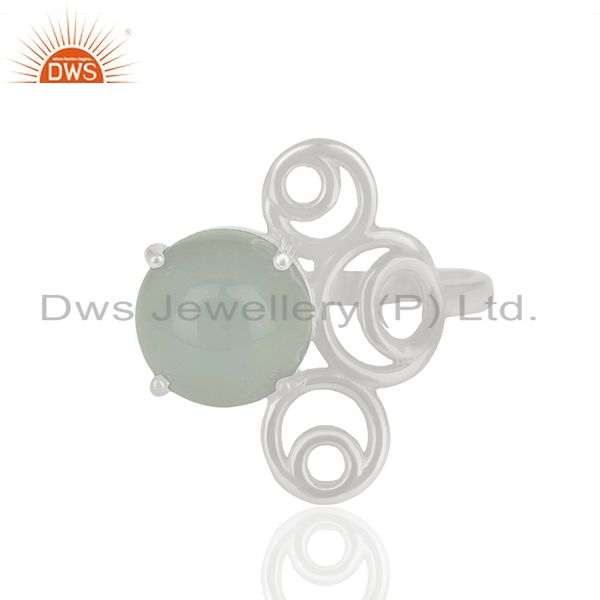 New designer 925 silver chalcedony gemstone rings wholesale
