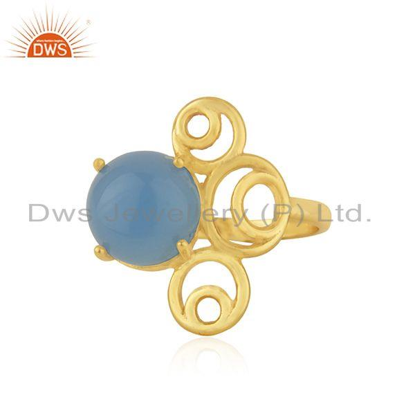 Blue chalcedony gemstone 925 silver yellow gold plated designer ring wholesaler