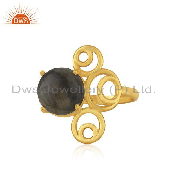 Yellow gold plated 925 silver labradorite gemstone ring manufacturer of jewelry