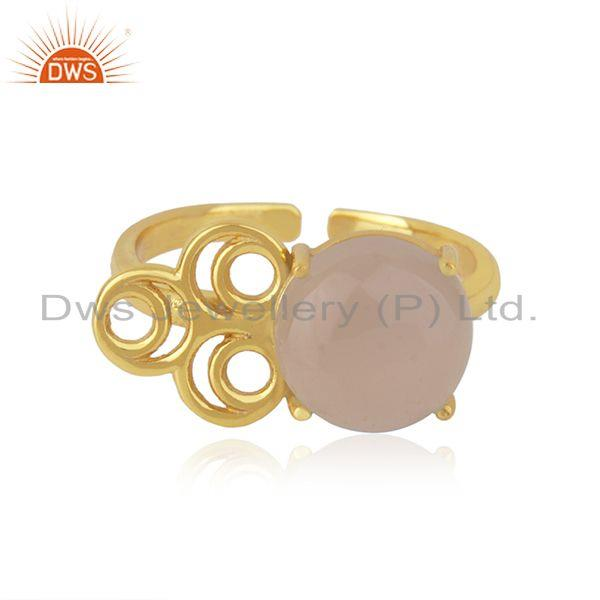 18k gold plated 925 silver designer rose chalcedony gemstone ring wholesaler