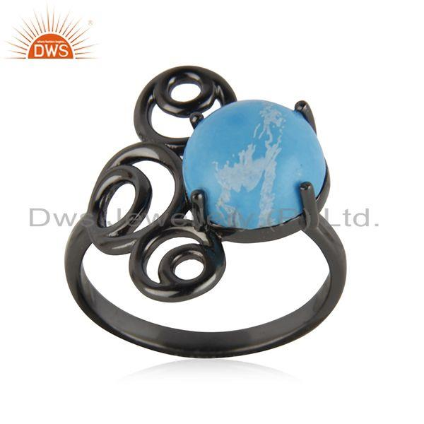 92.5 silver black rhodium plated turquoise gemstone ring manufacturer india