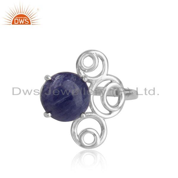 Designer white rhodium plated 925 silver tanzanite gemstone rings