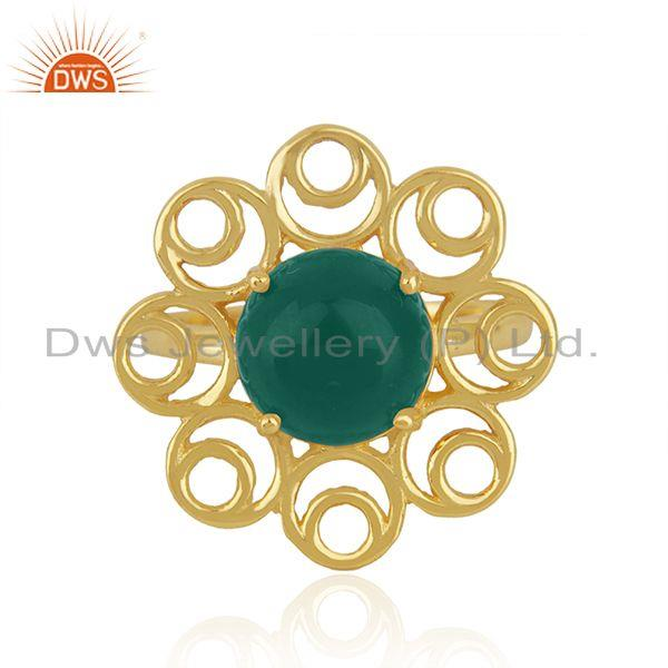 Green onyx gemstone floral design 925 silver gold plated promise ring for girls