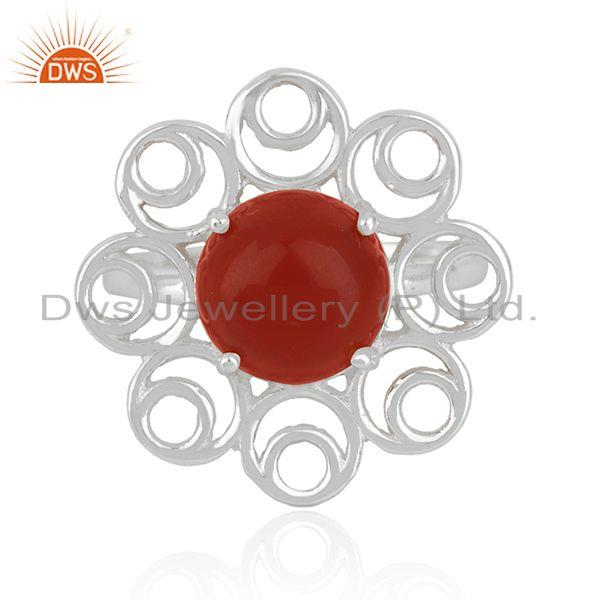 Red onyx gemstone fine sterling silver floral design ring manufacturer india