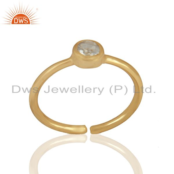 Aquamarine Gemstone 92.5 Silver Gold Plated Midi Rings Wholesale