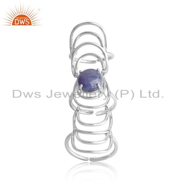 Handmade white rhodium plated silver tanzanite knuckle rings