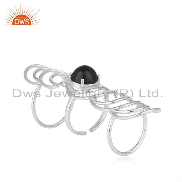 Black onyx gemstone fine 925 sterling silver designer knuckle rings