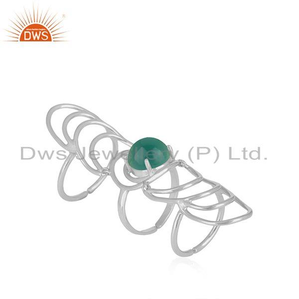 Green onyx gemstone 925 sterling silver knuckle ring manufacturer