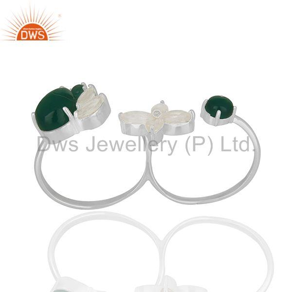 Crystal Quartz and Green Onyx Gemstone Multi Finger Rings Wholesale