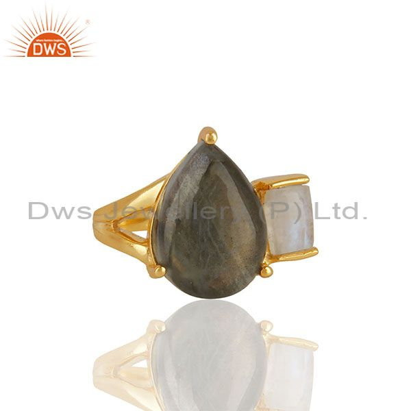 Labradorite Gemstone 92.5 Sterling Silver Gold Plated Ring Jewelry