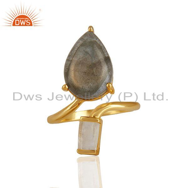Natural Multi Gemstone 92.5 Sterling Silver Gold Plated Rings Jewelry