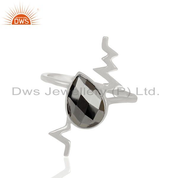 Hematite Simple Heartbeat Designer Silver Ring