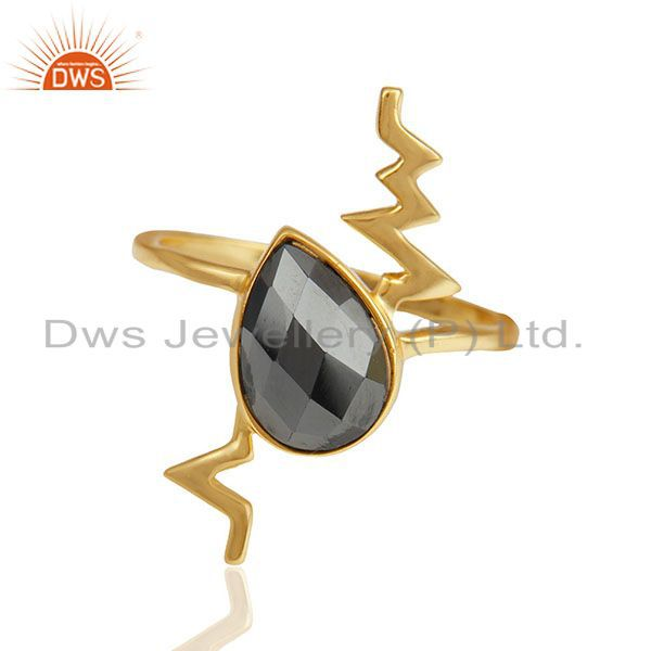 Hematite Simple Heartbeat Gold Plated Designer Silver Ring