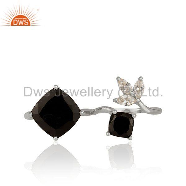 Zircon and Black Onyx Gemstone Fine Sterling Silver Double Finger Ring Wholesale
