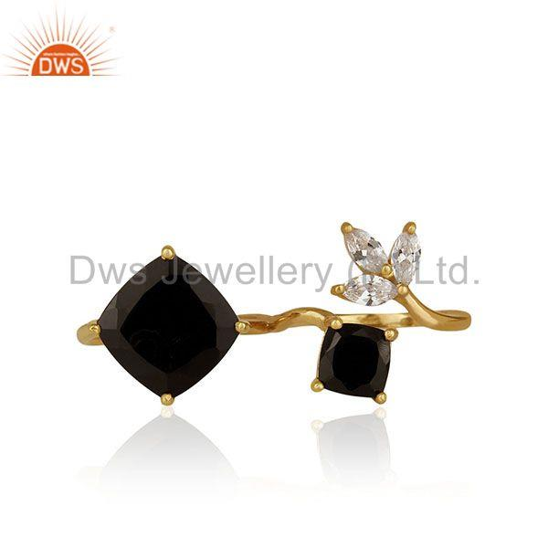 Black Onyx and Zircon Gemstone 925 Silver Double Finger Ring Manufacturers