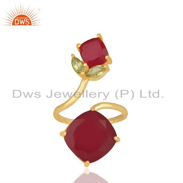 Customized Multi Gemstone 925 Silver Gold Plated Rings Jewelry
