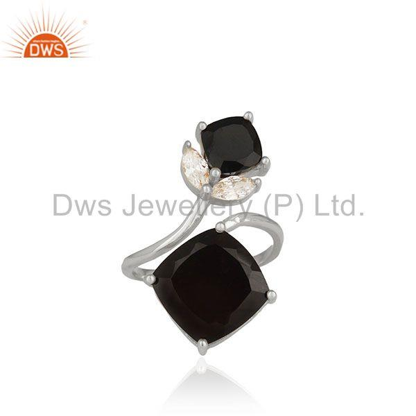 Black Onyx Gemstone Handmade 925 Sterling Silver Double Finger Rings Suppliers