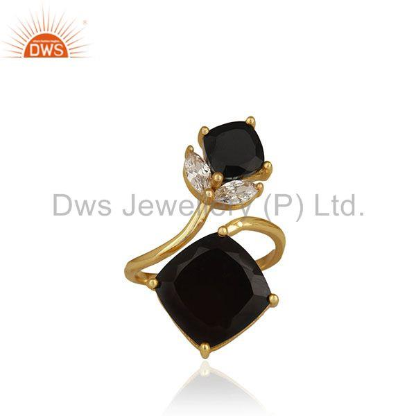 14k Gold Plated 925 Silver Black Onyx and Zircon Gemstone Double Finger Rings