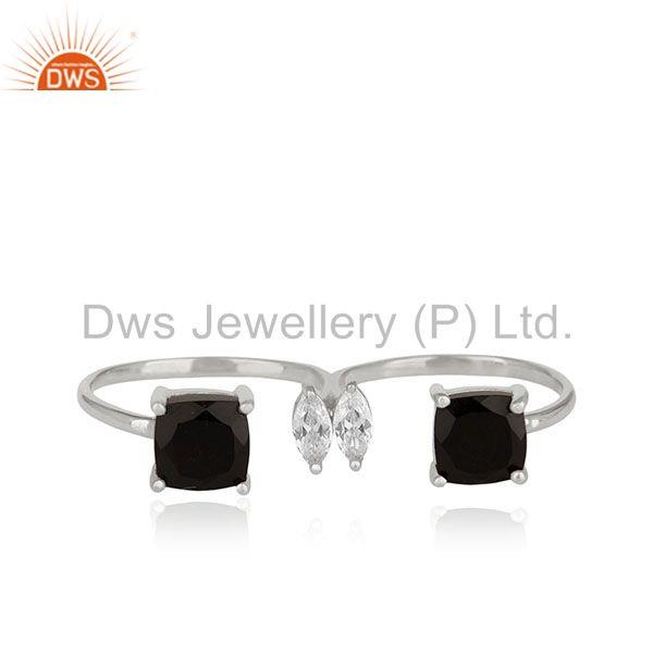 Black Onyx Gemstone Double Finger Fine Sterling Silver Handmade Rings Wholesale