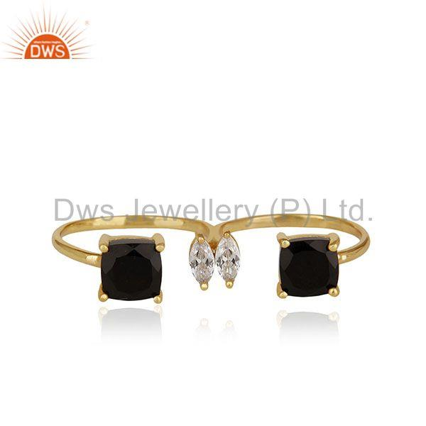 Black Onyx Gemstone Double Finger Gold Plated 925 Silver Ring Jewelry