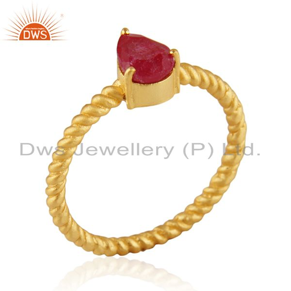 Natural Ruby Birthstone Screw Design 925 Silver Gold Plated Rings