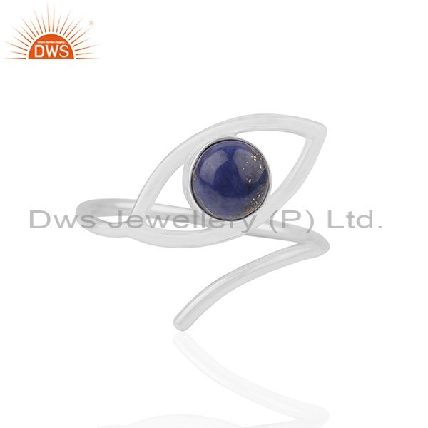 Fine Sterling Silver Evil Eye Design Designer Lapis Gemstone Rings
