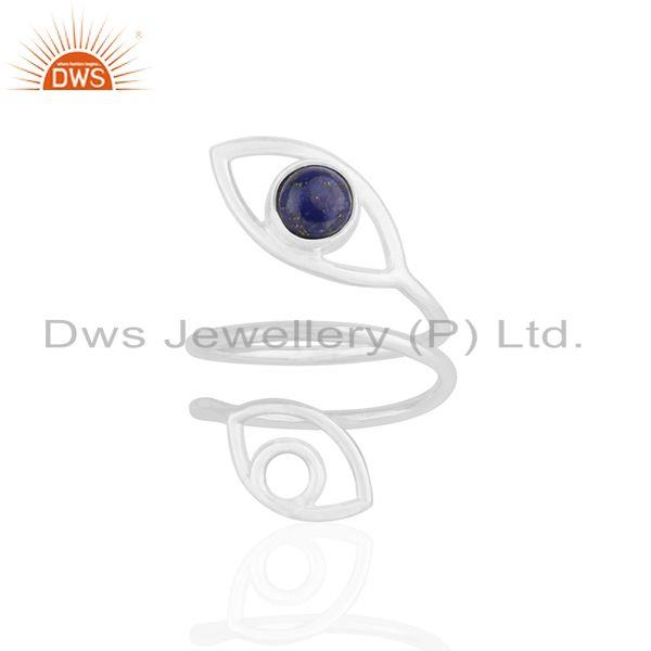 Double Evil Eye Lapis Lazuli Gemstone Fine Silver Ring Manufacturers