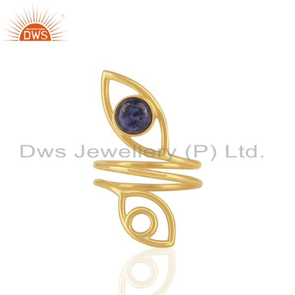 Double Evil Eye Lapis Lazuli Gemstone Gold Plated Silver Ring Supplier