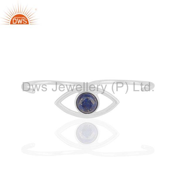 Handmade Sterling Silver Evil Eye Design Multi Finger Gemstone Ring